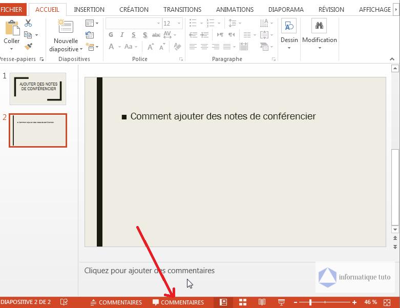 Afficher les notes de conférencier PowerPoint
