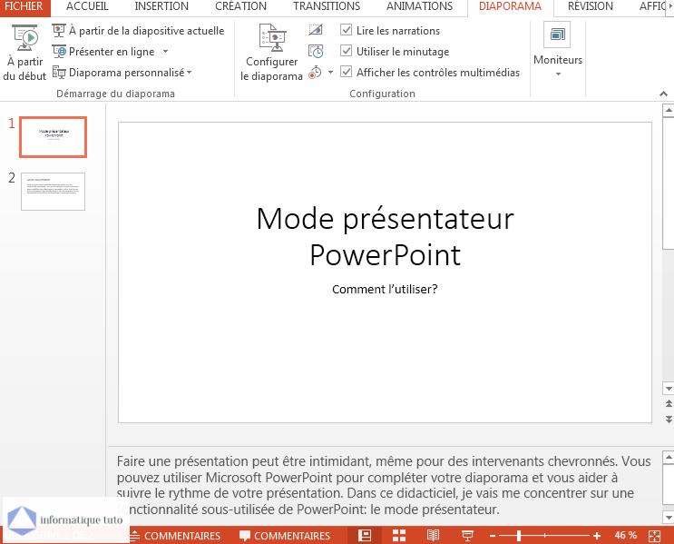Afficher les notes de conférencier dans le mode présentateur PowerPoint