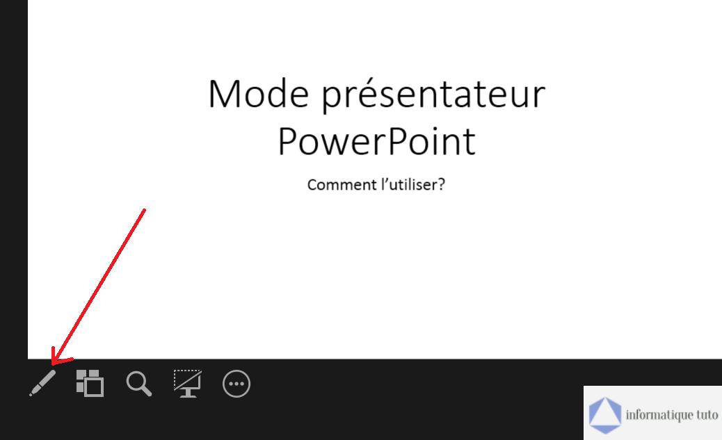 Outils de dessin dans le mode présentateur PowerPoint