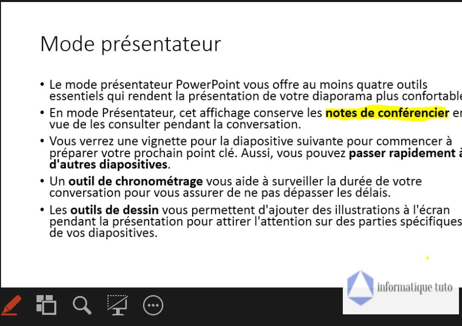 Surlignage du texte dans le mode présentateur PowerPoint