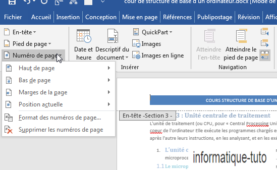 Ajouter des numéros de page dans l'en-tête et pied de page